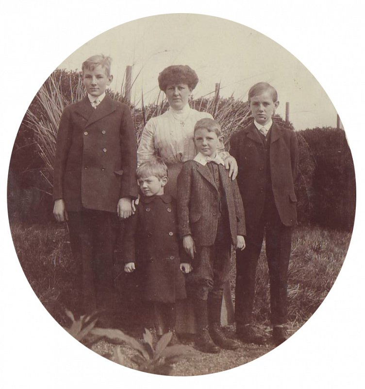 Alice with her sons; William, Brian, Harry and Tom